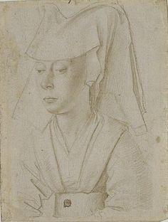 Portrait de femme à mi-corps coiffée d'un hennin, de trois quarts à gauche, Petrus Christus