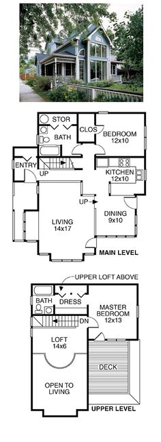 COOL House Plan ID: chp-49606 | Total living area: 1272 sq ft, 2 bedrooms and 2 bathrooms. #homeplan
