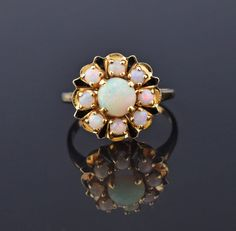 Enamel 14K Gold Opal Cluster Ring #Enamel #Cluster #Yellow #Gold #Ring #14K #Opal #namel #Souvenir #Margot