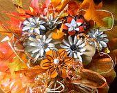 Metal Flower Brooches Jeweled Pumpkin Fall Thanksgiving Centerpiece