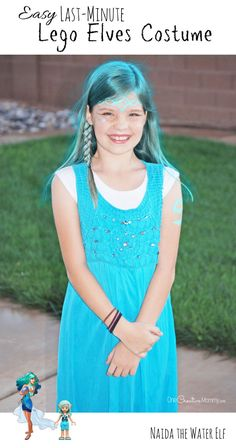 Need a last-minute Halloween costume? With a little face paint and colored hairspray, you can create your kids' favorite Lego Elf! {OneCreativeMommy.com} Lego Elves Costume tutorial