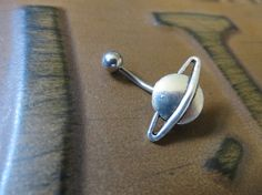 Saturn Belly Button Ring Stud Navel Piercing by Azeetadesigns