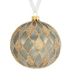 Buy John Lewis Boutique Glass Diamond Bauble, Large, Grey and Gold Online at johnlewis.com