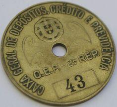 Old and rare brass Pit Check Token #43 Caixa Geral de Depósitos Portuguese Bank