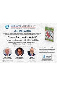 Invitation to Book Launch Event - Centre for Weight Loss 10 December, Surgery Center, Book Launch, Weight Loss Surgery, You Are Invited, Healthy Weight, Rsvp, 30th, Melbourne