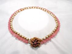Miriam Haskell Baroque Pearl and Pink Art Glass Bead Choker Necklace