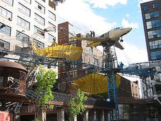 """St. Louis City Museum - billed as an """"eclectic mixture of children's playground, funhouse, surrealistic pavilion, and architectural marvel."""" Visitors are encouraged to feel, touch, climb on, and play in the various exhibits."""