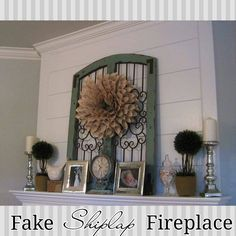 Faux Shiplap Fireplace. See how I faked the look here!