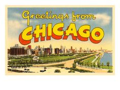 size: Art Print: Greetings from Chicago, Illinois Wall Art : Artists Cool Posters, Travel Posters, Haunted Tours, Chicago Events, Chicago Trip, My Kind Of Town, Postcard Design, Chicago Illinois, Vintage Photographs