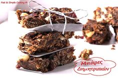 grigores-bares-dimitriakwn Sweets Recipes, Healthy Desserts, Greek Recipes, Vegan Recipes, Bar, Food And Drink, Easy Meals, Vegetarian, Favorite Recipes
