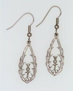 Pewter Earrings, Scottish Thistle