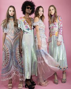 Discover embellished tulles and iridescent sequins in a spectrum of kaleidoscopic colours channeling the spirit of dreamcatchers.