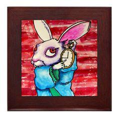 60% OFF- Alice In Wonderland Art Framed Ceramic Tile - Alice In Wonderland Folk Art Tile Framed - Ready to HANG