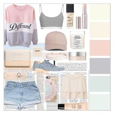 """pastel colors"" by enjoyrosa ❤ liked on Polyvore featuring Calvin Klein, Maison Margiela, Chanel, NARS Cosmetics, La Mer, NIKE, RMK, Guerlain, MANGO and Casetify"