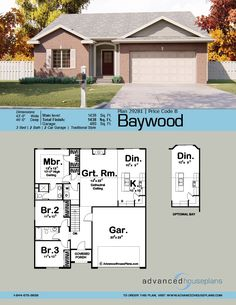 With a compact footprint and efficient layout, the Baywood is an economical house plan that is a great choice for first-time home owners and budget conscious families.This plan is a traditional ranch house plan with cathedral ceilin House Layout Plans, Garage House Plans, Bungalow House Plans, Ranch House Plans, Craftsman House Plans, New House Plans, Dream House Plans, Modern House Plans, Small House Plans