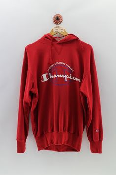Red Sweaters, Sweaters For Women, Champion Sportswear, Champion Pullover Hoodie, Blue Trainers, Vintage Jerseys, Vintage Champion, Used Clothing, Western Wear