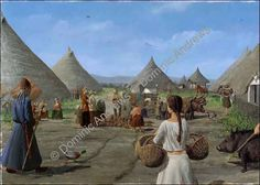 A cluster of houses built on an artificial island that is reached by a causeway in the marshes of Shinewater East Sussex during late Bronze Age by Dominic Andrews Fantasy Places, Sci Fi Fantasy, Prehistoric Age, Classical Greece, My Past Life, Medieval Houses, Primitive Survival, Iron Age, Bronze