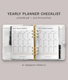 Yearly Planner and Goal Planner, Cleaning and Productivity Planner, Work, Business, and Task Checklist Printable - A5 & Personal Size For Individual Who Loves Minimalistic And Clean Design, Instant Download! #yearlyplanners #yearlychecklist #tasktracker #monthlytracker #goaltracker #etsyplanners Printable Planner, Printables, Goals Planner, Yearly, Papers Co, Clean Design, Paper Size, A5, Productivity