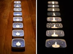 DIY hand-painted ceramic tealight holders by funnelcloud rachel - Draw the patterns on the ceramic dishes with a Pebeo Porcelaine 150 Paint Pen (color used was Lapis), allow them to dry for 24 hours, then bake them in the oven to set the ink. Beautiful!