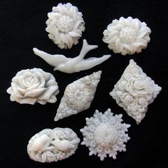 Joey used Plastimake in silicone moulds to create a variety of finely detailed brooches.