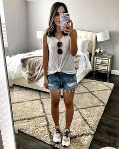 Simple & cute casual look | White tie top, jean shorts, & sneakers