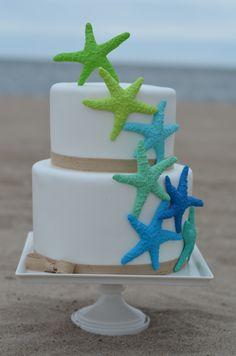 Beach Cakes - Chocolate cake with raspberry buttercream and gumpaste starfish.