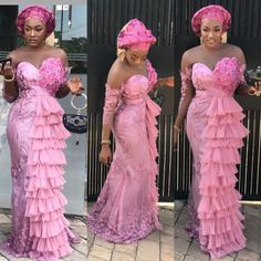 Latest aso ebi lace styles 2019 for ladies:Nigerian Lace Styles for Weddings & Other Events Aso Ebi Lace Styles, Lace Gown Styles, African Lace Styles, African Lace Dresses, Latest African Fashion Dresses, African Print Fashion, Ankara Styles, African Clothes, Ankara Fashion