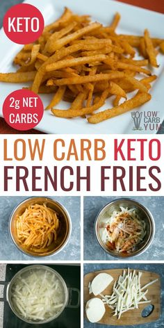 Jicama fries are the best low carb french fries! These keto fries make a delicious low carb appetizer or keto side. Jicama fries are the best low carb french fries! These keto fries make a delicious low carb appetizer or keto side. Ketogenic Recipes, Diet Recipes, Recipes Dinner, Lunch Recipes, Keto Veggie Recipes, Keto Pasta Recipe, Ketogenic Diet Results, Recipies, No Carb Recipes