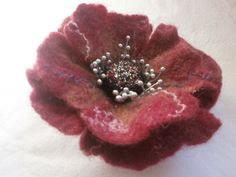 Felt Flower Brooch Poppy Felt Jewelry Wool  by FahionFeltProducts
