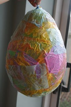 Easy Paper Mache Easter Egg- Could use as piñata