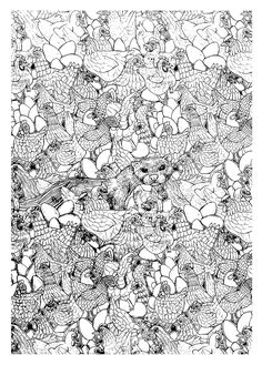 Free coloring page coloring-adult-hen-ferret-complex. Complex coloring page with hens and a ferret