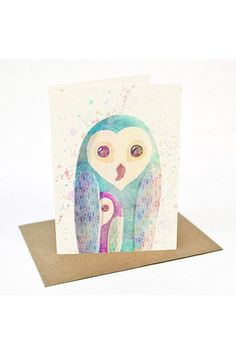 BeauWylie - Watercolour Owls - Greeting Card