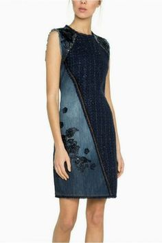 Buy your Desigual Dress Achille online now at House of Fraser. Why not Buy and Collect in-store? Dark Denim, Blue Denim, Blue Dresses, Dresses For Work, Floral Denim, Fashion Over 50, Sheath Dress, Casual, Women
