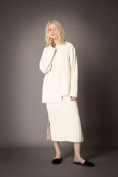 2021-22 A/W 009, Super Comeback Lamb's Wool Multi Rib Knit Pullover FRC-K05-902, Super Comeback Lamb's Wool Multi Rib Knit Slit Skirt FRC-S10-902F Slit Skirt, Lace Skirt, Rib Knit, Monochrome, Knitwear, Normcore, Pullover, Wool, Knitting