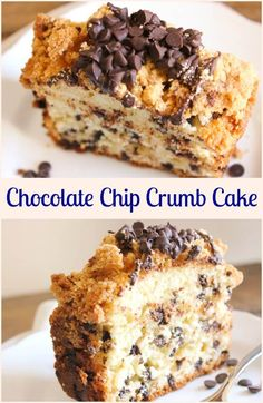 Chocolate Chip Crumb Cake a delicious cake filled with chocolate chips and topped with an amazing chocolate chip crumb topping. - Chocolate Chip - Ideas of Chocolate Chip Flan, Cupcakes, Cupcake Cakes, Easy Desserts, Delicious Desserts, Yummy Food, Cannoli, Cheesecakes, Fudge