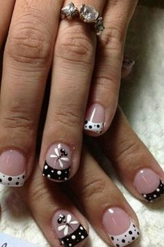 New french pedicure designs toes polka dots 63 Ideas French Nail Designs, Black Nail Designs, Simple Nail Art Designs, Best Nail Art Designs, Pedicure Designs, Pedicure Ideas, Toe Nails, Summer Nails, Summer French Nails
