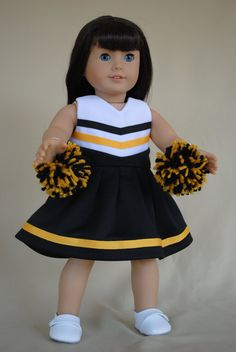 Black and Gold Cheerleader Dress for American by IfDollsCouldDream, $18.00