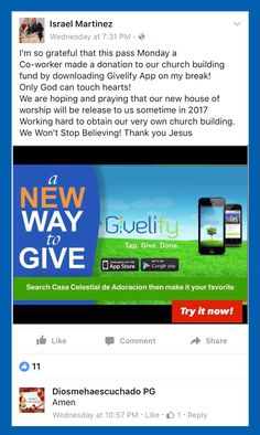 Nonprofit Donation and Church Giving App - Givelify Church Building, Make A Donation, Non Profit, Giving, Grateful, Fans, Followers