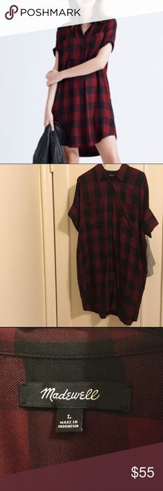 Madewell Buffalo Check Courier Dress Worn once! Perfect condition. Madewell Dresses
