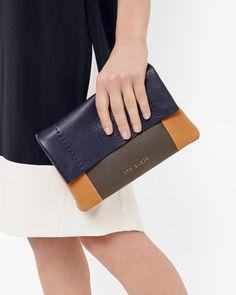 Colour-block leather cross body bag - Navy | Bags | Ted Baker UK