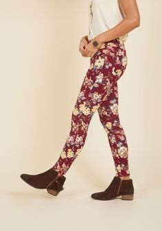 Slow and Edgy Wins the Race Pants in Burgundy Floral. Wanna talk about a style score? #red #modcloth