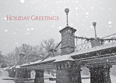 Pedestrian Bridge - Holiday Greeting Cards- Snow falls upon the pedestrian bridge in Boston's Public Gardens. The perfect scene to wish Holiday Greetings to everyone on your list. The Office Gal
