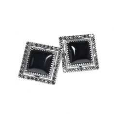 Arya Italian Jewels - Orecchini Argento Donna con Onice - Women SIlver Earrings with Onyx