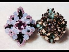 (Tutorial) Diamond Star Ring (Video 66): 24 x Super Duos 11/0 Seed Beads 16 x 4mm Crystal Bicones 8 x 3mm Firepolish Beads 6mm Swarovski Montee