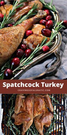 This Spatchcock Turkey cooking method is the quickest way to cook a whole turkey in the oven. It ensures even cooking of the meat, and produces super crisp skin. This recipe is a winner! #spatchcock #turkey #thanksgiving Easy Delicious Recipes, Easy Healthy Recipes, Easy Dinner Recipes, Great Recipes, Breakfast Recipes, Easy Meals, Recipe Ideas, Yummy Food, Thanksgiving Recipes
