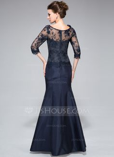 Trumpet/Mermaid Off-the-Shoulder Floor-Length Taffeta Lace Mother of the Bride Dress With Flower(s) (008040831)