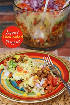 Love tacos and taco soup? Then you'll love this Layered Chopped Taco Salad recipe from This Mama Cooks! On a Diet