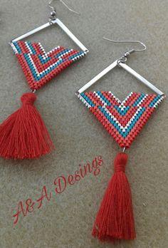 Miyuki delica beads,tassel earring desing