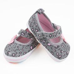 Babyschoentjes: baby ballerina's grijs met roze luipaard print