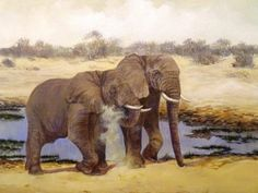 Elephants at water hole by Wendy Mills http://artdiscoveredonline.co.uk/artist-page/?artist=Wendy_Mills